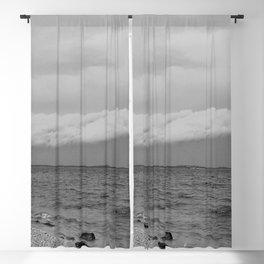 thunderstorm approaching at peroj beach croatia istria black white Blackout Curtain