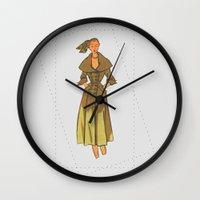 60s Wall Clocks featuring 60s vintage woman by osu.busu