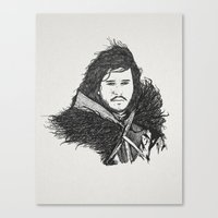jon snow Canvas Prints featuring Jon Snow (Game of Thrones) by Goat Robot