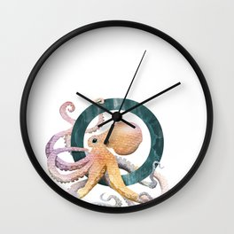O is for Octopus - Letter O Monogram Wall Clock