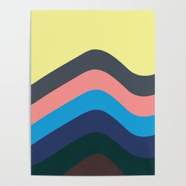 Retro California Waves Poster