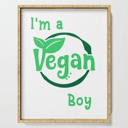 Kids Vegan prints for Boys Funny I'm a Vegan Boy Nutrition Tee Serving Tray