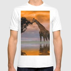 Giraffe at Sunset MEDIUM Mens Fitted Tee White