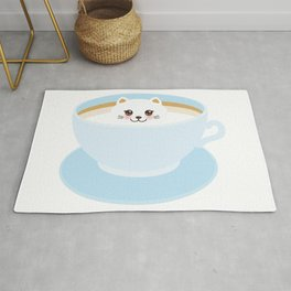 Cute Kawai cat in blue cup Rug