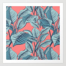Pink Exotic Tropical Banana Palm Leaf Print Art Print
