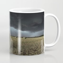 Fade Away - Round Hay Bales in Storm in Oklahoma Coffee Mug