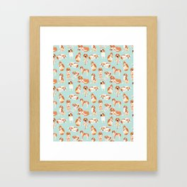 Redtick Coonhound on Light Blue Framed Art Print