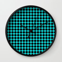 Black and Cyan Diamonds Wall Clock
