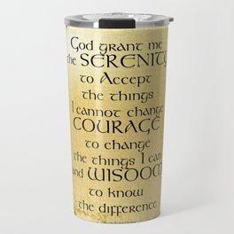 Serenity Prayer Kelt on Yellow Travel Mug