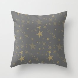 Antique Gray-Gold Stars Throw Pillow
