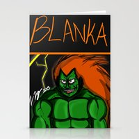 street fighter Stationery Cards featuring Street Fighter: Blanka by LaDarius Livingston