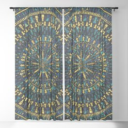 Chess Pieces Mandala - Marble and Golden texture Sheer Curtain