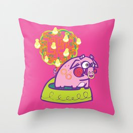 Owl and the Pussycat (The Piggywig) Throw Pillow