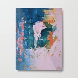 The Sword in the Stone: a vibrant abstract painting in blues pink and yellow by Alyssa Hamilton Art  Metal Print
