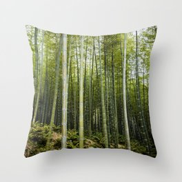 Bamboo Forest in Green Throw Pillow
