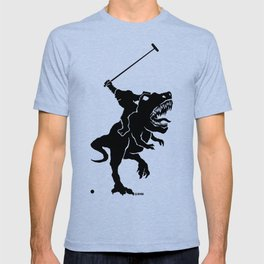 Big foot playing polo on a T-rex T-shirt