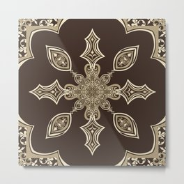 Fancy Pants Mandala - Taupe Metal Print
