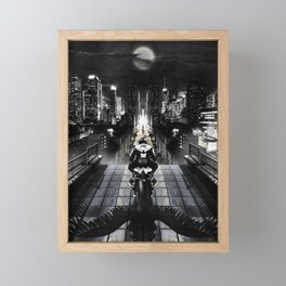 Poster with a biker on a motorcycle in the form of an angel looking into the distance of the urban v Framed Mini Art Print