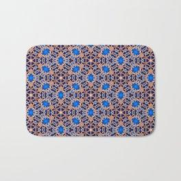 Blue and Gold Beadwork Inspired Print Bath Mat