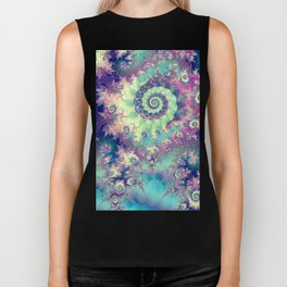 Violet Teal Sea Shells, Abstract Underwater Forest  Biker Tank