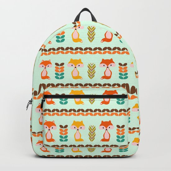 Foxes, grains and leaves Backpack