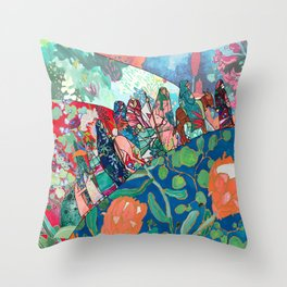 Floral Migrant Quilt Throw Pillow