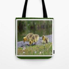 goslings getting their grub on Tote Bag