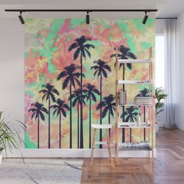 Colorful Neon Watercolor with Black Palm Trees Wall Mural