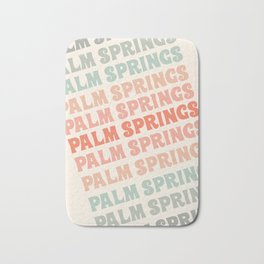 Palm Springs typography trendy retro vintage style 70s minimal art socal cali vibes Bath Mat
