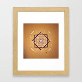 Orange Seed Mandala Framed Art Print