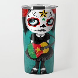 Day of the Dead Girl Playing Cameroon Flag Guitar Travel Mug