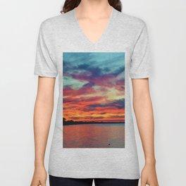 Sunset on Lake St. Clair in Belle River, Ontario Unisex V-Neck