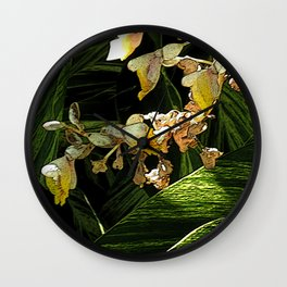 Tropical cascade of white flowers Wall Clock
