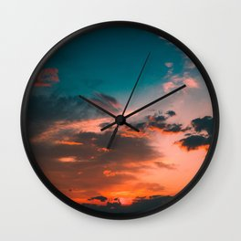 Colorful Pink Orange Turquoise Sunset Clouds Ombre Gradient Wall Clock