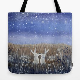 Hares and the Crescent Moon Tote Bag