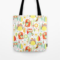 mod Tote Bags featuring Mod Owls by Jeannine Feierbach Designs