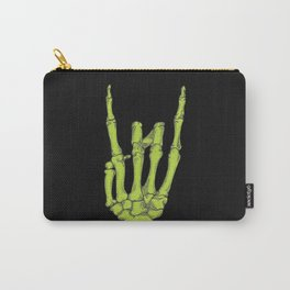 Rock On Skeleton Hand - Green Carry-All Pouch