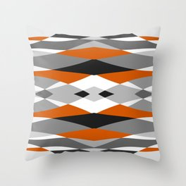 Abstract geometric gray orange pattern Throw Pillow
