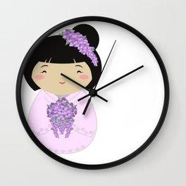 Kokeshi Wisteria Bride Wall Clock