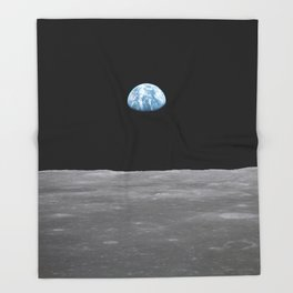Earth rise over the Moon Throw Blanket