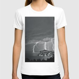 Lighting Storm on the coast, Adriatic Ocean black and white photograph T-shirt