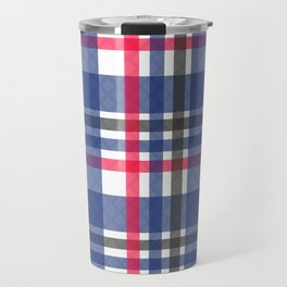 Navy & red tartan plaid Travel Mug