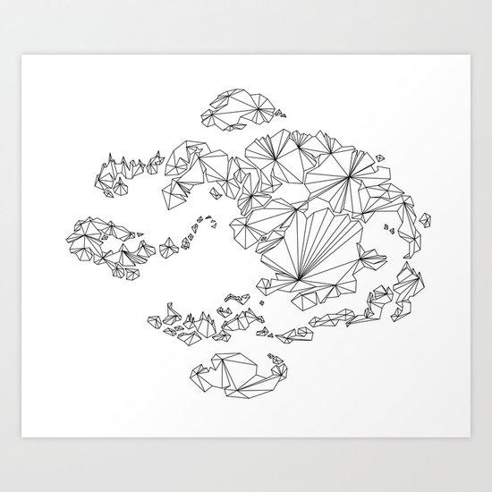 Avatar The Last Airbender Map Line Art Print By Chemicalcurve - Avatar the last airbender us map