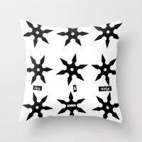 ninja Throw Pillows featuring ninja by ḋαɾќṡhαḋøώ .