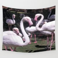flamingos Wall Tapestries featuring Flamingos  by Melissa Rodriguez Photography