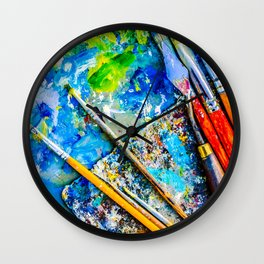 Palette And Brushes Wall Clock