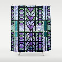 Aqua and Green Art Deco Stained Glass Design Shower Curtain