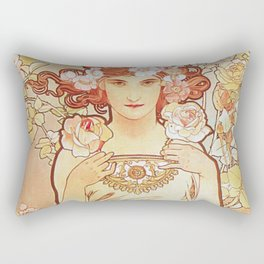 Rose by Alphonse Mucha 1897 // Vintage Girl with Red Hair Floral Love Design Rectangular Pillow