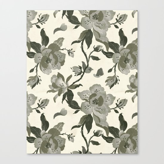 Black Magnolia Pattern Canvas Print