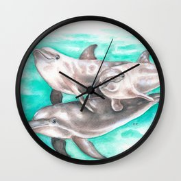Dolphins Teal Watercolor Wall Clock